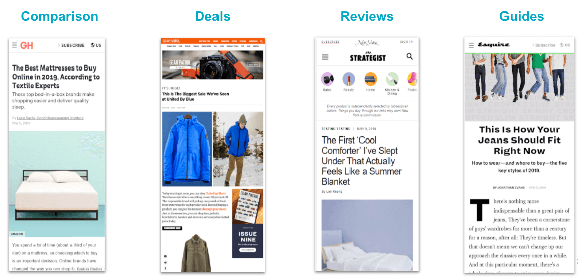 examples of commerce content